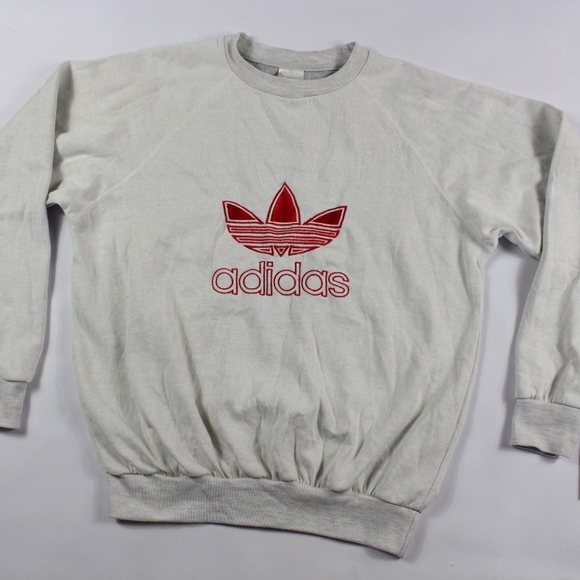 Vintage New Adidas Spell Out Trefoil Sweater Gray NWT